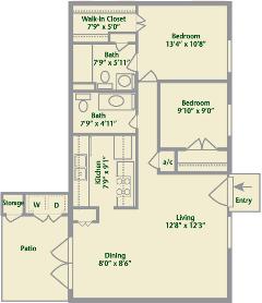 Two Bedroom - Exterior Apartments - Floor Plans - Garden ...